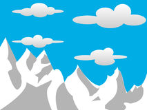 2D Mountains  with Clouds Royalty Free Stock Image