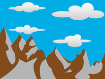 2D Mountains with Clouds Background Royalty Free Stock Photo