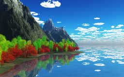 3D mountains and trees Royalty Free Stock Images