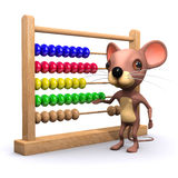 3d Mouse with abacus. 3d render of a mouse with an abacus Stock Photo