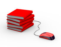 3d mouse attached to books Royalty Free Stock Images
