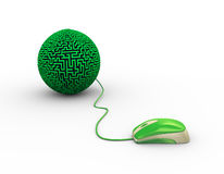 3d mouse attached to labyrinth maze ball Royalty Free Stock Image