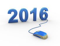 3d mouse attached to new year 2016 Stock Image