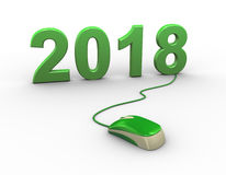 3d mouse attached to new year 2018. 3d rendering of computer mouse connected to happy new year 2018 Stock Image