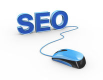 3d mouse attached to word seo search engine optimization Royalty Free Stock Images