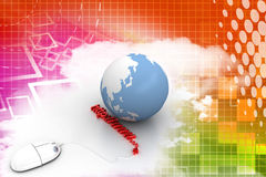 3d Mouse Connected To A Domain With Earth  Stock Images