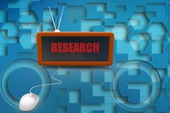 3d mouse connected to research  TV Set illustration Stock Photography