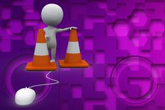 3d mouse connected to road cone illustration Royalty Free Stock Photos