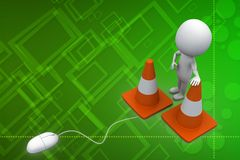 3d mouse connected to road cone illustration Stock Photos