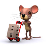 3d Mouse delivers boxes Royalty Free Stock Image