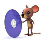 3d Mouse with a dvd. 3d render of a mouse with a dvd Stock Photo