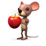 3d Mouse eats an apple Stock Image