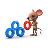3d Mouse with machine cogs Stock Photography
