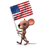 3d Mouse marching with the American flag Royalty Free Stock Image