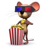3d Mouse at the movies Stock Image