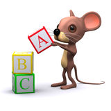 3d Mouse plays with alphabet blocks Royalty Free Stock Images