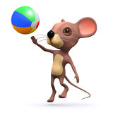 3d Mouse plays beach ball. 3d render of a mouse playing with a beach ball Stock Images
