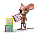 3d Mouse plays with counting blocks Stock Photo