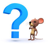 3d Mouse with a question Royalty Free Stock Photography