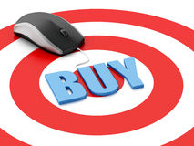 3d mouse on target. E-commerce concept Royalty Free Stock Images