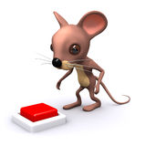 3d Mouse wants to press the button Royalty Free Stock Photos