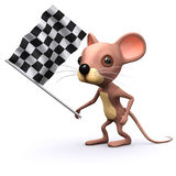 3d Mouse waves the checkered flag Stock Image