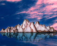 3d moutain. In blue sky stock photos