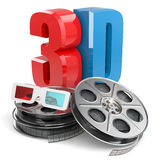 3D movie concept. Film reel and glasses. Royalty Free Stock Images