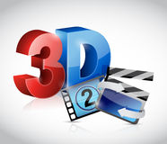 3D movie concept illustration Stock Photos