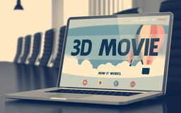 3D Movie Concept on Laptop Screen. Closeup 3D Movie Concept on Landing Page of Mobile Computer Screen in Modern Conference Hall. Toned Image with Selective Stock Photos