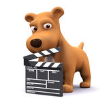 3d Movie dog. 3d render of a dog with a clapper board Royalty Free Stock Photography