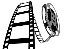 3d: Movie Film Spooling off of Reel Royalty Free Stock Photography