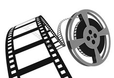 3d: Movie Film Spooling off of Reel Stock Images
