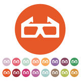 The 3d movie icon. 3D Glasses symbol. Flat Royalty Free Stock Photo