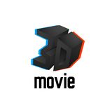 3D movie logo icon, cinema design template with. Symbol chromatic aberration, vector illustration Royalty Free Stock Image