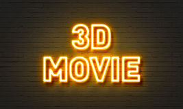 3D movie neon sign on brick wall background. Royalty Free Stock Images