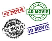 Scratched Textured 4D MOVIE Stamp Seals. 4D MOVIE seal prints with damaged surface. Black, green,red,blue vector rubber prints of 4D MOVIE text with scratched royalty free illustration