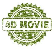 Scratched Textured 4D MOVIE Stamp Seal. 4D MOVIE stamp seal watermark with rubber print style. Green rubber print of 4D MOVIE title with grunge texture royalty free illustration