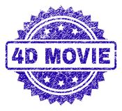 Grunge 4D MOVIE Stamp Seal. 4D MOVIE stamp watermark with corroded style. Blue vector rubber seal print of 4D MOVIE tag with corroded texture royalty free illustration