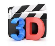 3D movie symbol. On white background Stock Photos