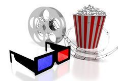3D movies, cinema concept. 3D glasses, movie reel, popcorn - great for topics like movie theater/ cinema, entertainment etc Stock Photos