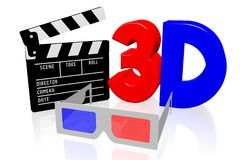 3D movies, cinema concept. `3D` letters, clapperboard, 3D glasses - great for topics like movie theater/ cinema, entertainment etc Royalty Free Stock Photos