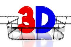 3D movies concept. `3D` letters, movie film - great for topics like movie theater/ cinema, entertainment etc Stock Image