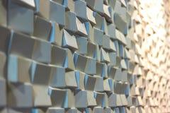 3d mozaiki powierzchni biała ściana na ciepłym świetle Zdjęcie Stock