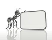 3D mrówka trzyma puste miejsce deskę. Pojęcie Fotografia Stock