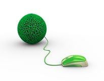 3d muis in bijlage aan de bal van het labyrintlabyrint vector illustratie