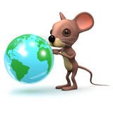 3d Muis met een bol van de Aarde Stock Foto's
