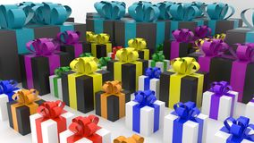 3d multi-colored gift boxes stock illustration