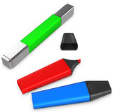 3d multi-colored markers, highlighter Royalty Free Stock Image