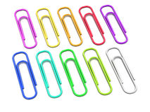 3d Multi colored paper clips Stock Photography